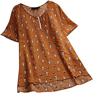 iNoDoZ Women's Cat Print Asymmetrical Tops Short Sleeve O-Neck Casual Vintage T-Shirts Blouse