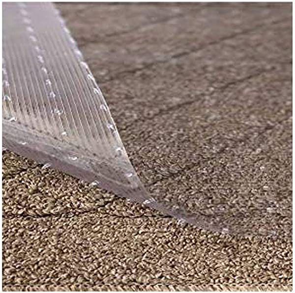 Resilia Clear Vinyl Plastic Floor Runner Protector For Deep Pile Carpet Non Skid Decorative Pattern 36 Inches Wide X 12 Feet Long