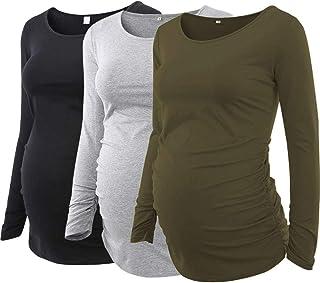 Ecavus Pack 3pcs Women's Maternity Tunic Tops Flattering Side Ruched Pregnancy Shirt