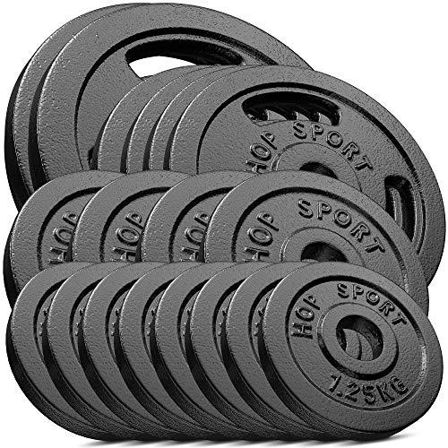 Hop-Sport 60 kg Gusseisen Hantelscheiben-Set - Verschiedene Varianten zur Auswahl - Gewichte mit 30/31 mm Bohrung (2x10kg + 4x5kg + 4x2.5kg + 8x1.25kg)