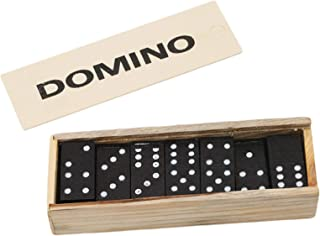 Dominoes Set Table Games Premium Classic 28 Pieces Double Six in Durable Wooden Brown Box Dominoes Set for Adults Children...