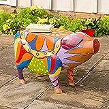 2021 Nueva Colorida Mesa Auxiliar de Cerdo de Arte Popular - Mesa Auxiliar de Patio de Cerdo Estatuas de Resina de Animales al Aire Libre Escultura Artesanía para jardín Patio Paisaje