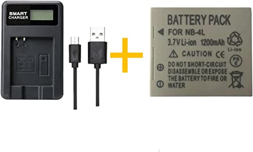 pcs 1200mAh NB-4L NB4L Battery With LCD Single Charger for Canon IXUS ...