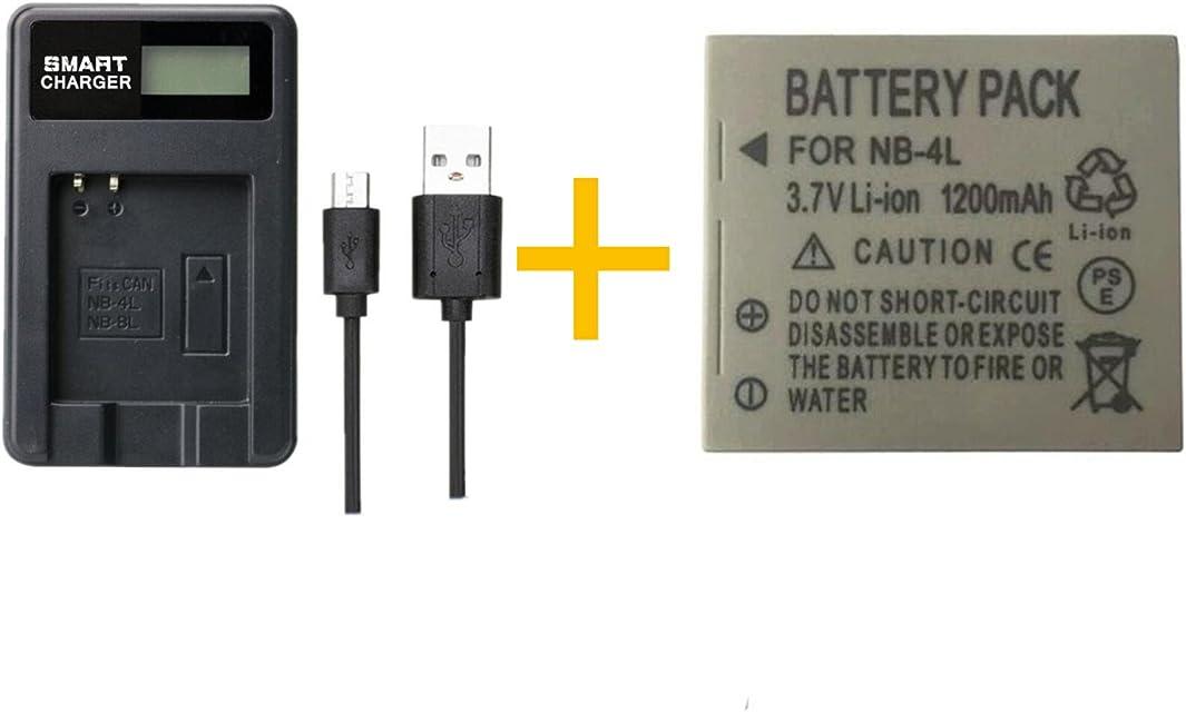 1 Piezas 1200mAh NB-4L NB4L Batería con Cargador de batería para Canon IXUS 50 55 60 65 80 75 100 I20 110 115 120 130 IS 117 220 225 (1 pcs Battery with Charger)