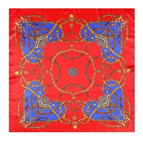 Zubehör 90 * 90cm Satin Print Square Schal Seidenschal Schal Schals für Frauen Mädchen Damen Multi-Founcational Halstuch aus weicher Seide Seaside Sonnencreme Schal große feste weiche bequeme Satin Ko