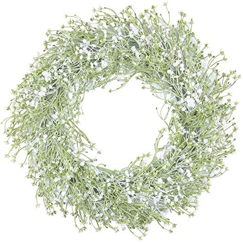 """HEBE 16.5"""" Artificial Baby's Breath Flower Wreath Welcome Front Door Wreaths White Floral Wreath Farmhouse Wreath for Wall, Window,Backdrop,Hanging Décor"""