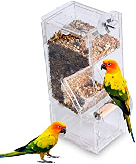 Parrot Automatic Bird Feeder, Hamkaw No Mess Bird Feeder for Cage with Single Slots, Acrylic Budgerigar Canary Cockatiel Finch Parakeet Seed Catcher Container Dispenser Cage Accessories