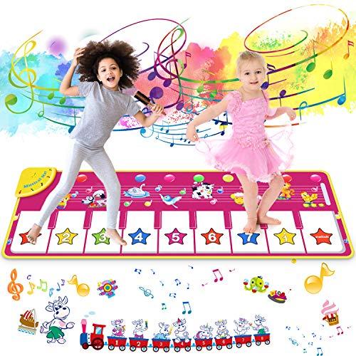 joylink Tanzmatte, Klaviermatte Musikmatte Tanzmatte Kinder Keyboard Matte 100*36 cm Tastatur Matte Spielzeug Piano Matte Keyboard Spielteppich mit 8 Tasten und 8 Tierstimmen