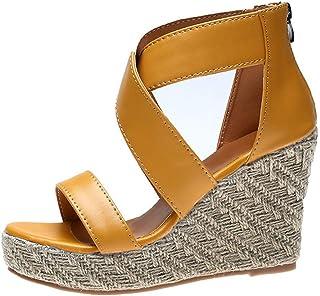 76270f6b2f0cbc DOLDOA Chaussures Femme été Sandales Compensees Femme de Ceinture croisée  en Paille Style Romain Chaussures Femme