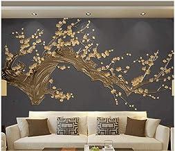 Fotomurale 3D - Rama de floración dorada vintage 400x280 cm - 8 tiras Papel pintado tejido no tejido Fotomural Moderna para Dormitorio Sala de Niños Pasillo TV Decoración de Fondo