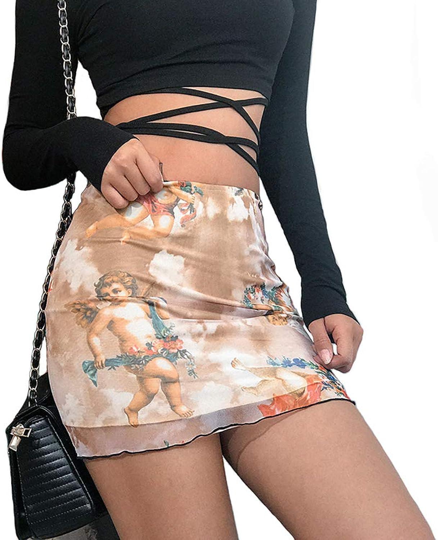 Malianna Women Angel Print High Street Skirts High Waist Mesh Mini Skirt Fashion Short Pencil Skirts Pink