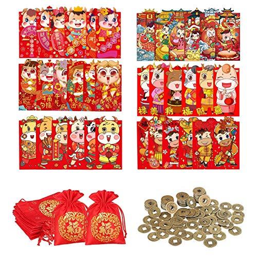 favourall 42 sobres rojos del año del buey chino, Hongbao 2021, paquetes rojos de dinero de la suerte para fiestas, bodas y festivales de primavera, 7 estilos