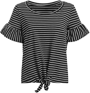 Women's Short Sleeve Tie Front Knot Casual Loose Fit Tee T-Shirt