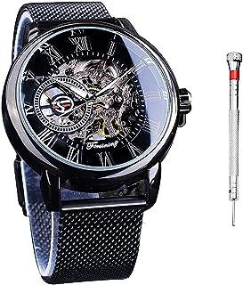 Forsining Men Fashion Steel Mesh Belt Mechanical Wrist Watch Full Skeleton Transparent Dial and Movement
