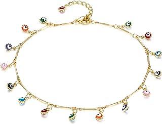 Women Dainty Anklet,14K Gold Plated Geometry Lucky Evil Eye Cross Tassel Cute Tiny Beads CZ Flower Heart Summer Ankle Bracelet Boho Beach Foot Chain