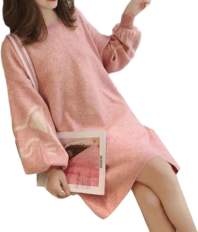 TDCACA Women Mid Long Length Crewneck Relaxed Fit Lantern Sleeve Knit Dress