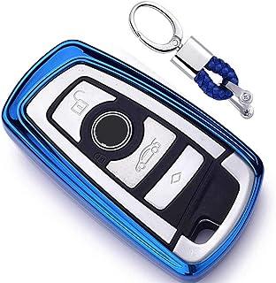 Azul Funda de TPU Suave para Llave + Llavero para Coche BMW 1 3 4 5 6 7 Series BMW X3 X4 X5 X6 M3 M4 M5 M6 Remote Smart 3 4 Buttons