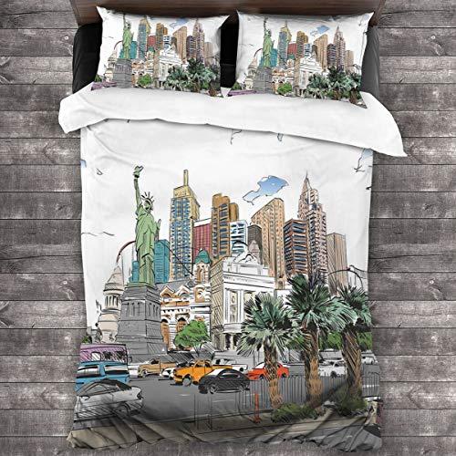 BEITUOLA Juego de Funda nórdica,Hand Drawn Las Vegas City Nevada Street Sketch Edificios Estatua de la Libertad Cars Palms,1 Funda de Edredón y 2 Fundas de Almohada 220 x 240cm