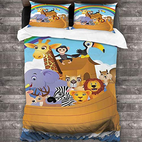 Anyangeight Washed Duvet Cover Set Cartoon Bedding Sets 3 Pieces(1 Duvet Cover + 2 Pillow Shams) Double-Needle Durable Stitching Comfy Queen 90'x90'