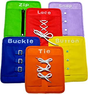 YAOSEN Toddler Early Learning Basic Life Skills Learn to Dress Board - Zip, Snap, Button, Buckle, Lace & Tie