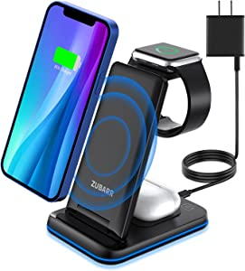 ZUBARR Foldable Wireless Charger, 3 in 1 Wireless Charging Station for iPhone13 12 11/Pro/mini/SE/11 /X/XS/XR/Samsung,Wireless Charging Stand Dock for Apple Watch SE/6/5/4/3/2, AirPods Wireless/Pro