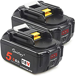 2Pack AOYAN 18V 5.0Ah Replacement Battery with LED Display for Makita BL1850B BL1850 BL1840 BL1830 BL1820 LXT-400 194204-5 Lithium-Ion