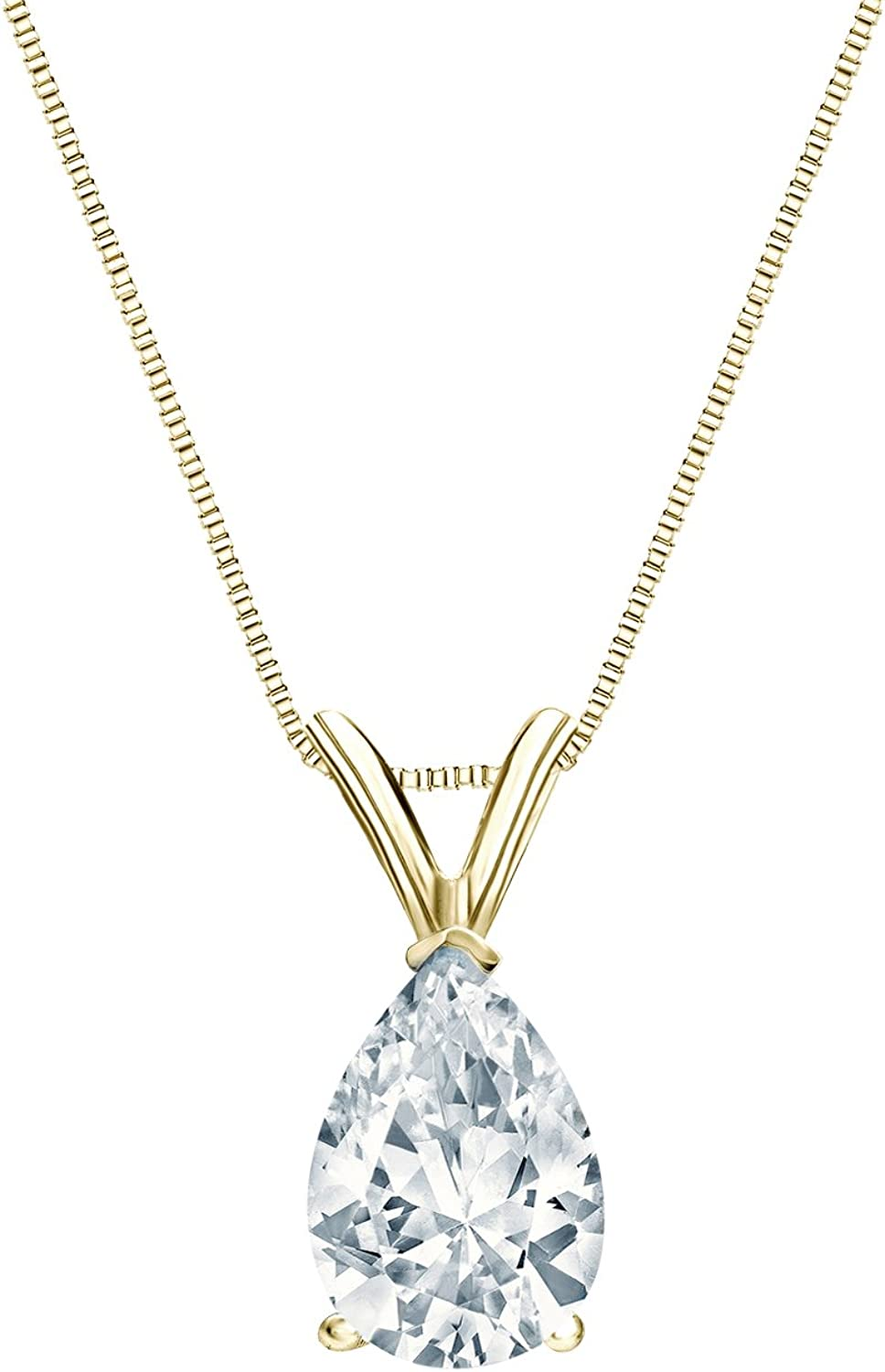 14k Yellow Gold V-End Prong National uniform free shipping Pear-Cut Pendant Diamond Solitaire In a popularity