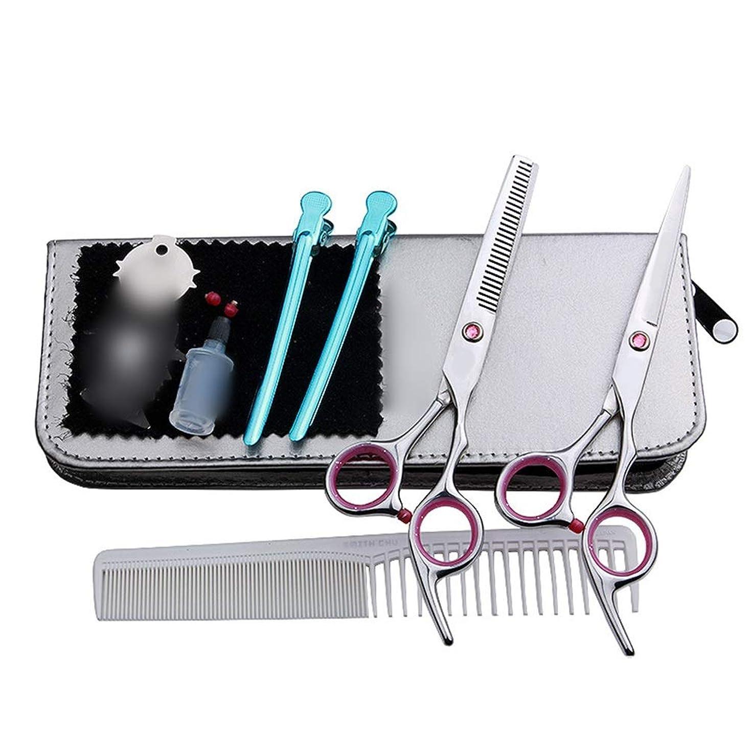 解決任意運賃6インチの美容院の専門のヘアカット、平らな+歯はさみのヘアカットセット モデリングツール (色 : ピンク)