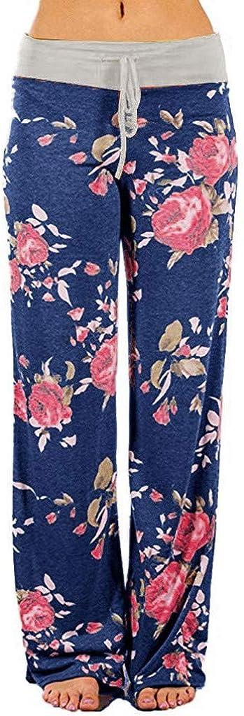 Sweatpants for Women Plus Size,Women's Soft Pajamas Pants Casual Floral Wide Leg Pants Drawstring Palazzo Lounge Pants