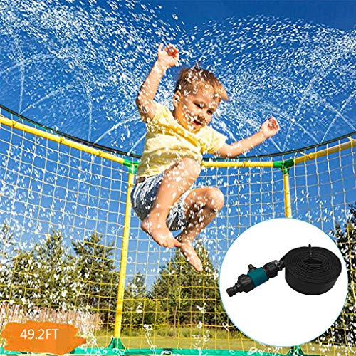 QIQIU Prinkle & Splash Trampoline Sprinkler for Kids Outdoor Water Toys Fun Waterpark Sprinkler Best Outdoor Summer Toys for Kids Outside (15M, Green)