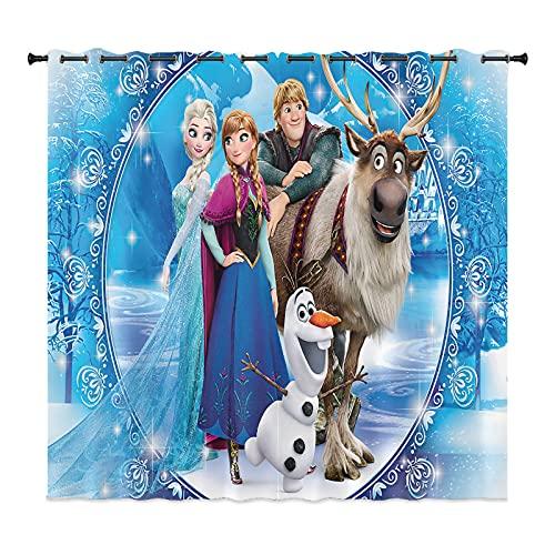 LKFFHAVD Anime Frozen - Set di tende oscuranti Anna e Elsa Olaf con occhielli, stampa 3D, set da 2 pezzi, per la decorazione della cameretta dei bambini, soggiorno, camera da letto (100 x 140 x 13)