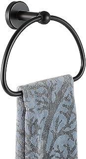 JQK Towel Ring Matte Black, Stainless Steel Half Ring Towel Holder for Bathroom, 7 Inch Brushed Finished Wall Mount, TR160-PB