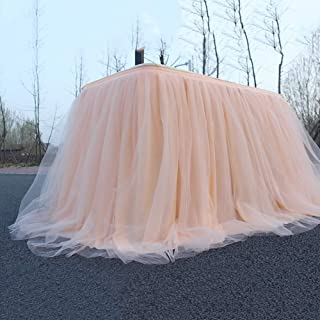 Likense Tulle Champagne Table Skirt for Round Or Rectangle Tables Dessert Tutu Table Skirting for Wedding Baby Shower Birthday Party Decorate 100 x 75cm / 40 x 30inches