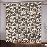 LIGAHUI Cortina Opaca Infantil Palabra 2x117x138cm(An x Al) Blackout Curtain Cortina Opaca Moderno para Habitación con Ojales Sala de Estar 2 Paneles