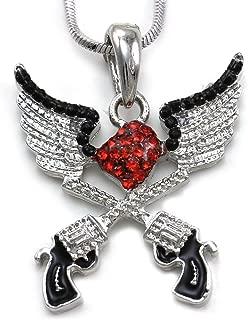 Angel Wings Six Shooter Revolver Pistol Hand Gun Pendant Necklace