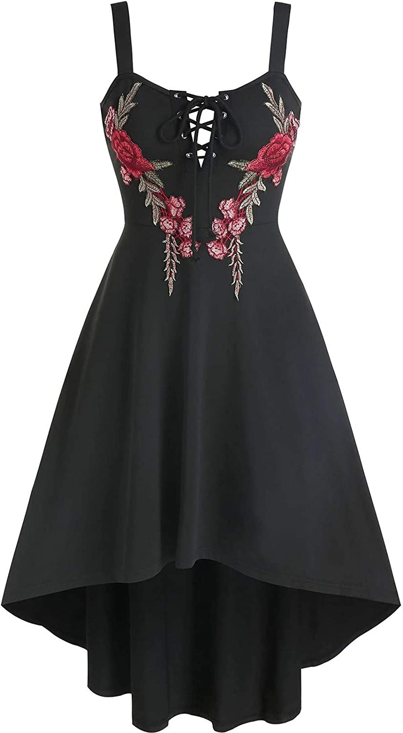 Women's Spaghetti New arrival Strap Solid Color Be super welcome Embroidery Dress Sle Elegant