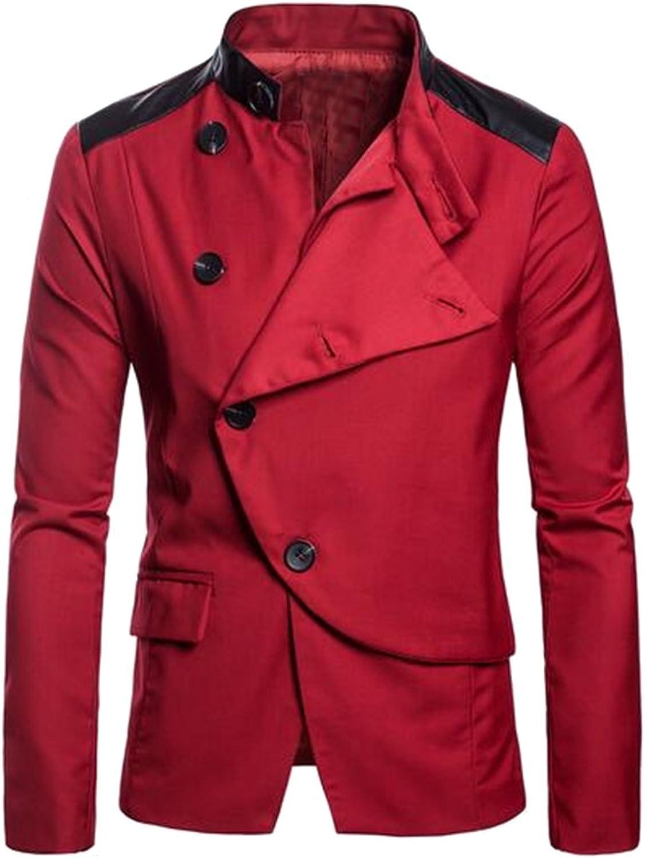 2d8ebc2aa47006 Fubotevic Men's Casual Business Button Down Pu Leather Slim Fit Dress  Blazer Jacket Coat d65de8
