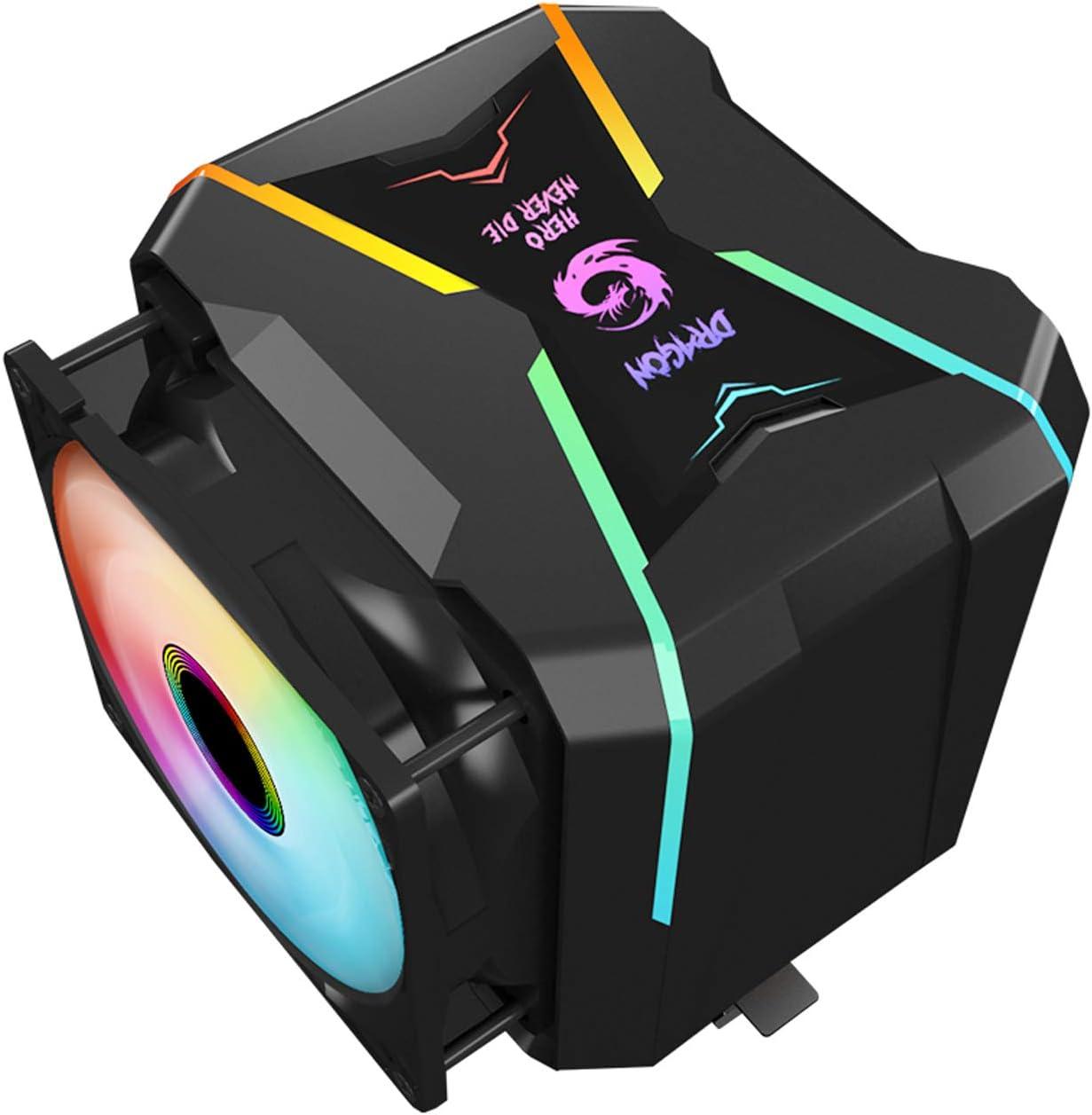 Gegong Enfriador de CPU G400-ARGB Enfriador de CPU AM4 Enfriador RGB direccionable de 5 V 2 disipadores de Calor 2 Ventiladores de enfriamiento 4 Heatpipes Enfriador de Aire de CPU Ventilador PWM