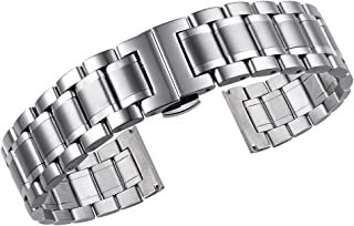 14mm-24mm Luxury Metal Watch Straps Men's Premium Oyster Style Stainless Steel Heavy Type Metal Watch Bands with Both Curved and Straight Ends