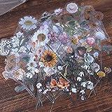Scrapbooking Stickers, Lychii 60pcs de PVC adhesivo decorativo con plantas y flores naturales, Pegatinas adhesivas de diseño vintage para planificador de calendarios, bricolaje, Bullet Journal