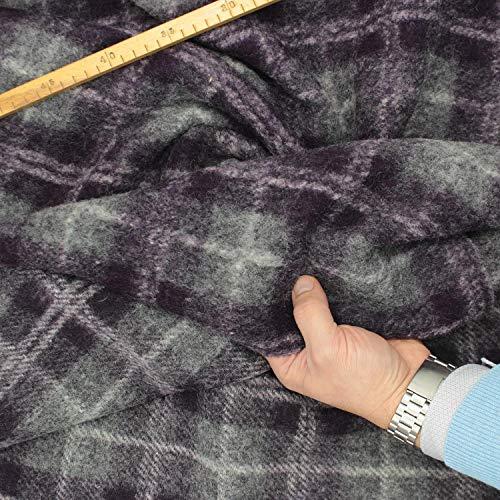kawenSTOFFE Wollflausch Schottenkaro grau lila großgemustert Soft gekochte Wolle Meterware
