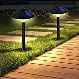 ZEVEZ 2 Pack Solar Pathway Lights, Solar Lights Outdoor, Solar Powered Garden Lights, Mushroom, IP55 Waterproof, 4 LED Beads Auto On/Off for Patio Lawn Yard Garden Sidewalk Walkway (Warm White)