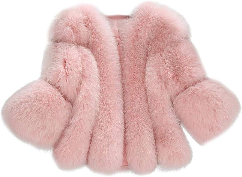 Women Coats Short Faux Fur Warm Furry Long Sleeve Stitching Plus Size Jacket Outerwear