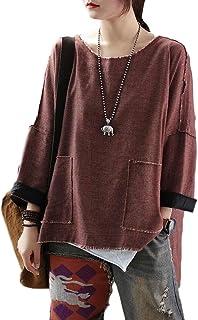 pujingge Women Loose Fit Tee Side Slit 3/4 Sleeve High-Low Hem Pockets T-Shirts