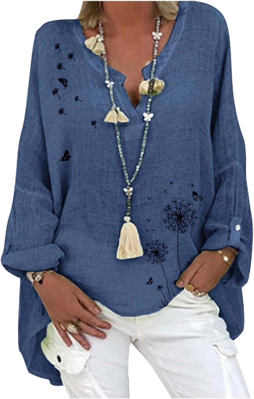 Long Sleeve Summer Blouses,Women's V Neck Summer Tops T-Shirts Graphic Tees Dandelion Print Linen Shirt Basic Tunic Top