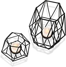 Candle Holder for Home Decor Candle Stand for Tealight Candle Metal Geometric Candlesticks Matte Black Large Small Set of 2