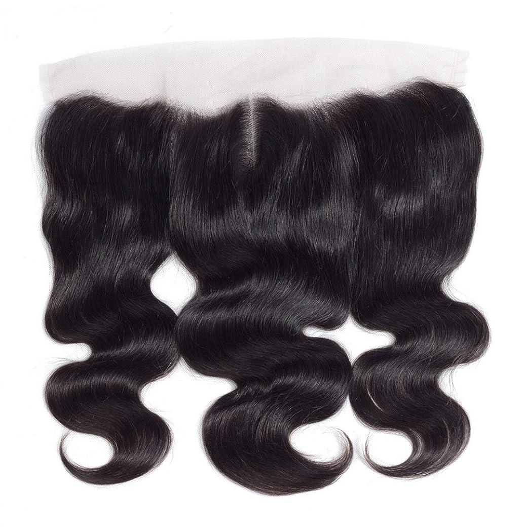 スクリュー分配します薄めるHOHYLLYA 13 * 4レース前頭閉鎖人間の髪の毛の部分 - ブラジル実体波トップミドル別れ長い巻き毛のかつら (色 : 黒, サイズ : 14 inch)