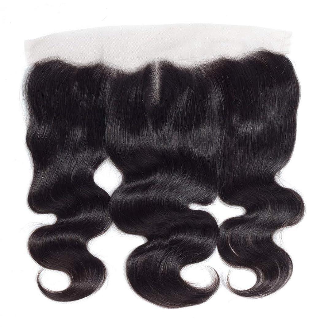 書道味する必要があるHOHYLLYA 13 * 4レース前頭閉鎖人間の髪の毛の部分 - ブラジル実体波トップミドル別れ長い巻き毛のかつら (色 : 黒, サイズ : 14 inch)