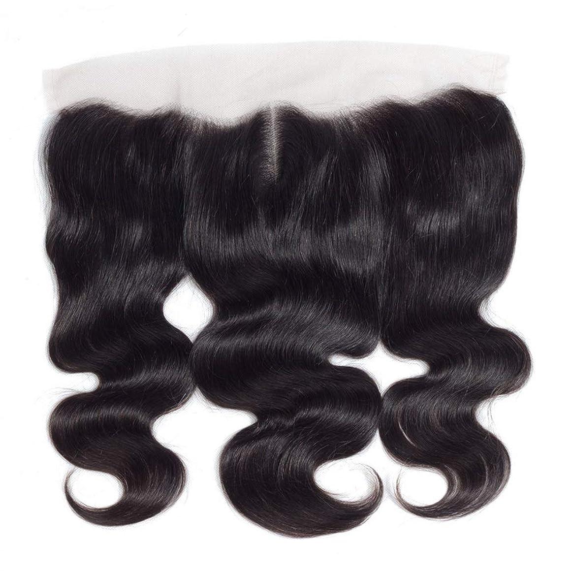 火すすり泣き恩恵BOBIDYEE 13 * 4レース前頭閉鎖人間の髪の毛の部分 - ブラジル実体波トップミドル別れ長い巻き毛のかつら (色 : 黒, サイズ : 18 inch)