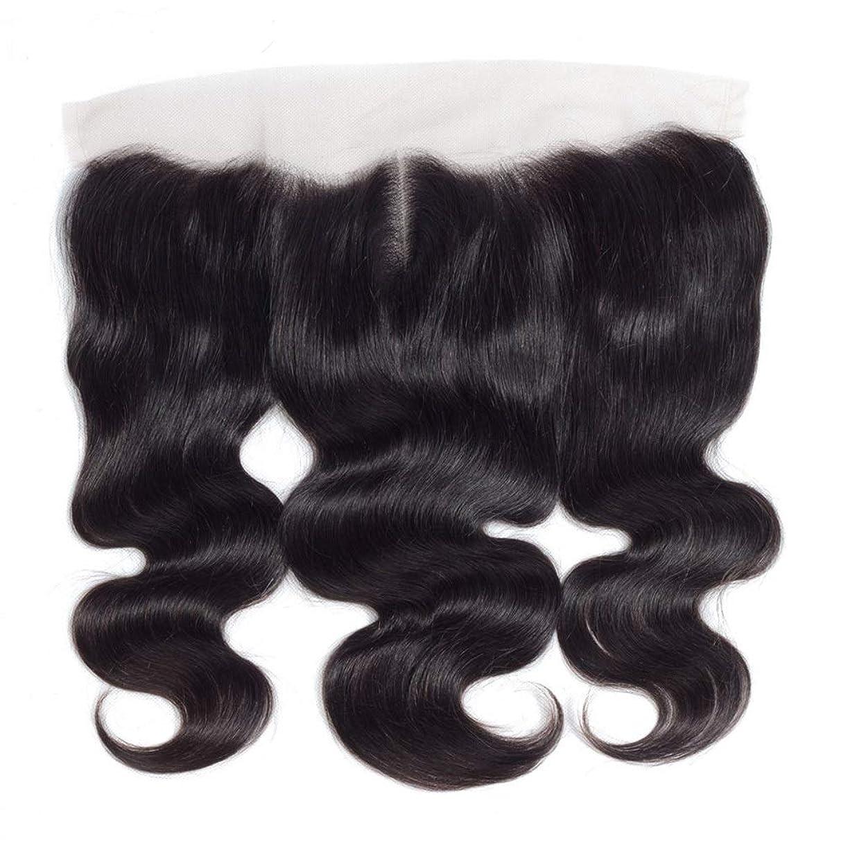 日常的にお別れコンサルタントYESONEEP 13 * 4レース前頭閉鎖人間の髪の毛の部分 - ブラジル実体波トップミドル別れ長い巻き毛のかつら (色 : 黒, サイズ : 16 inch)